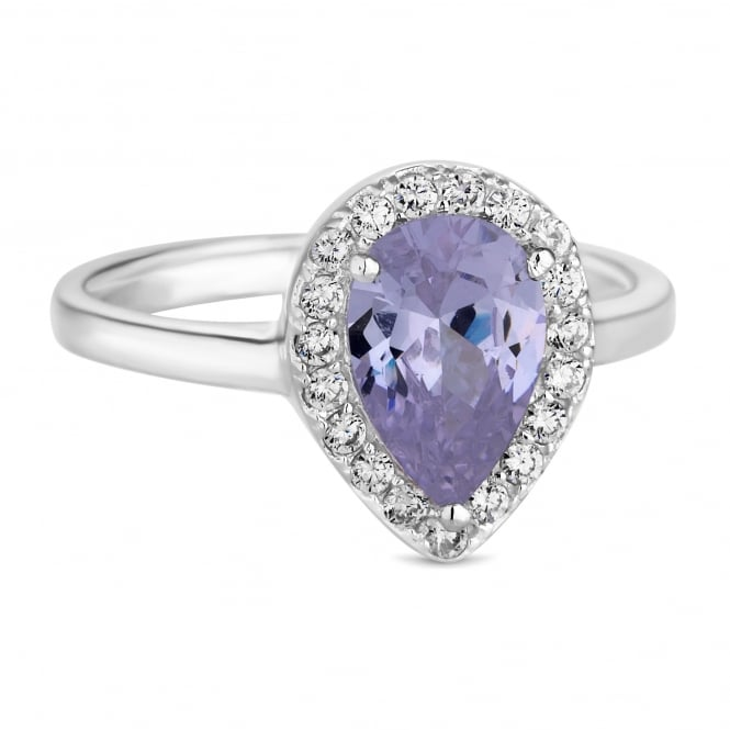 Simply Silver Sterling Silver Purple Cubic Zirconia Pear Drop Ring
