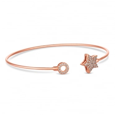14ct Rose Gold Plated Sterling Silver Pave Star Cuff Bangle