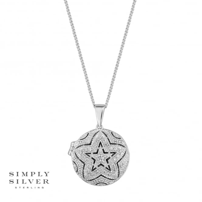 Simply Silver Sterling silver pave star locket necklace