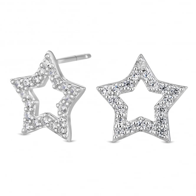 Simply Silver Sterling Silver Cubic Zirconia Pave Star Stud Earring