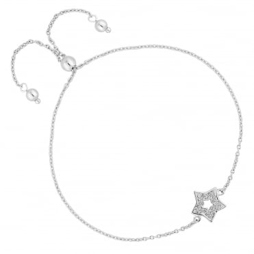 Sterling Silver cubic Zirconia Pave Star Toggle Bracelet