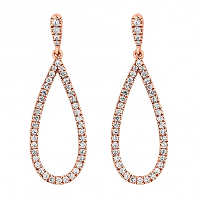 Simply Silver 14ct Rose Gold Plated Sterling Silver Cubic Zirconia Pave Teardrop Drop Earring