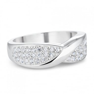 Sterling silver pave twist ring