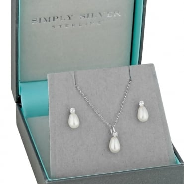 Sterling silver peardrop pearl necklace and matching earring set