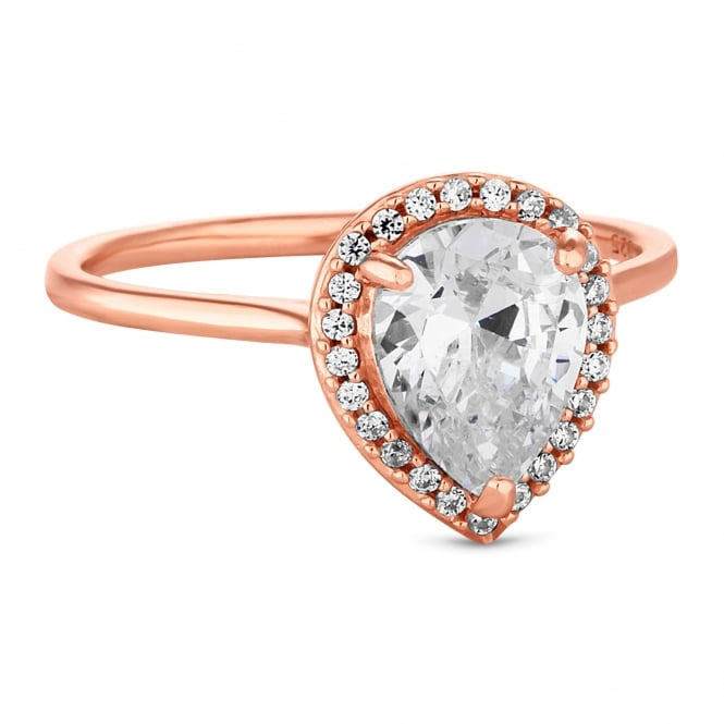 Simply Silver 14ct Rose Gold Plated Sterling Silver Peardrop Cubic Zirconia Ring
