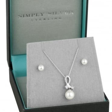 Sterling silver pearl twist necklace and earring set