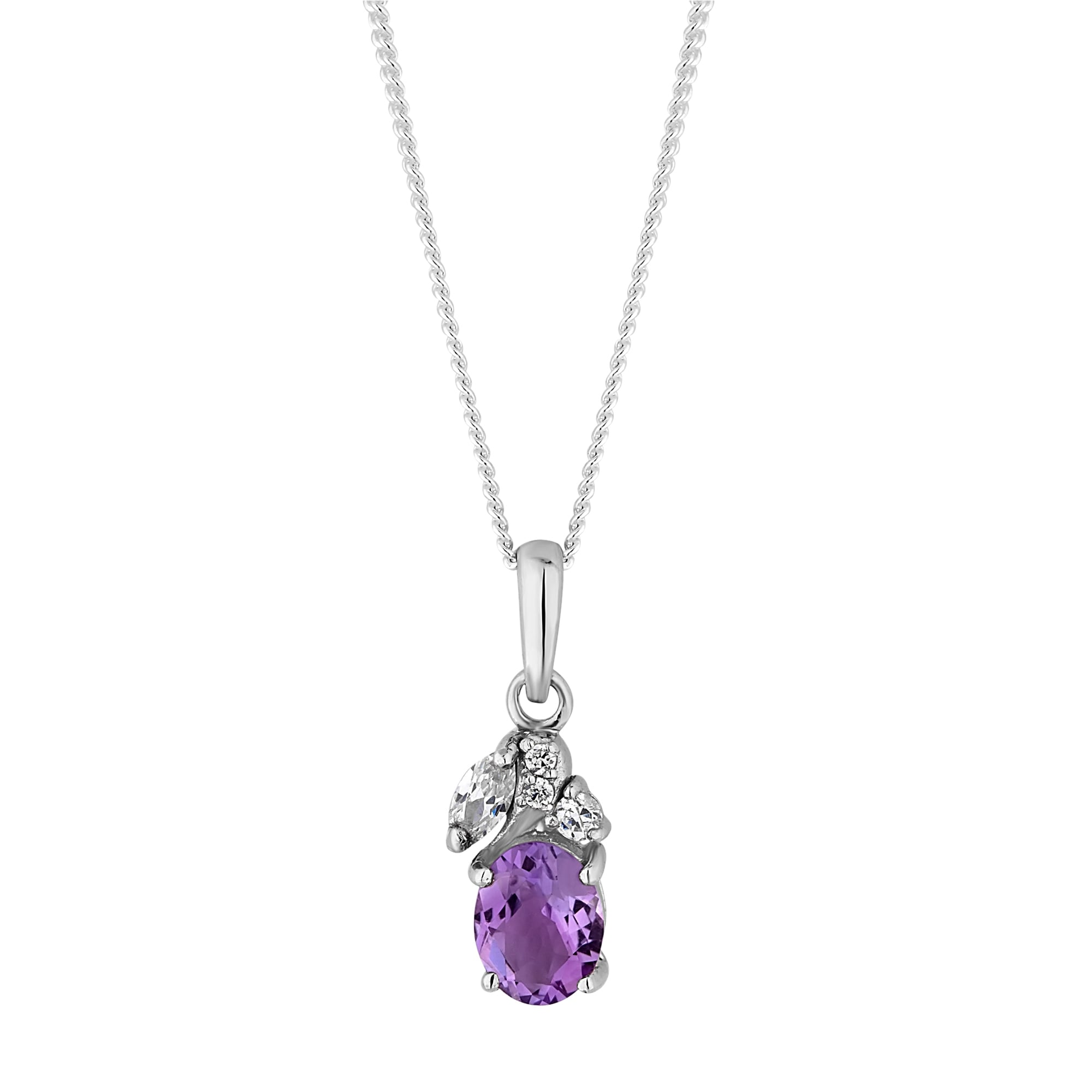 Simply silver sterling silver purple cubic zirconia cluster pendant sterling silver purple cubic zirconia cluster pendant necklace aloadofball Image collections