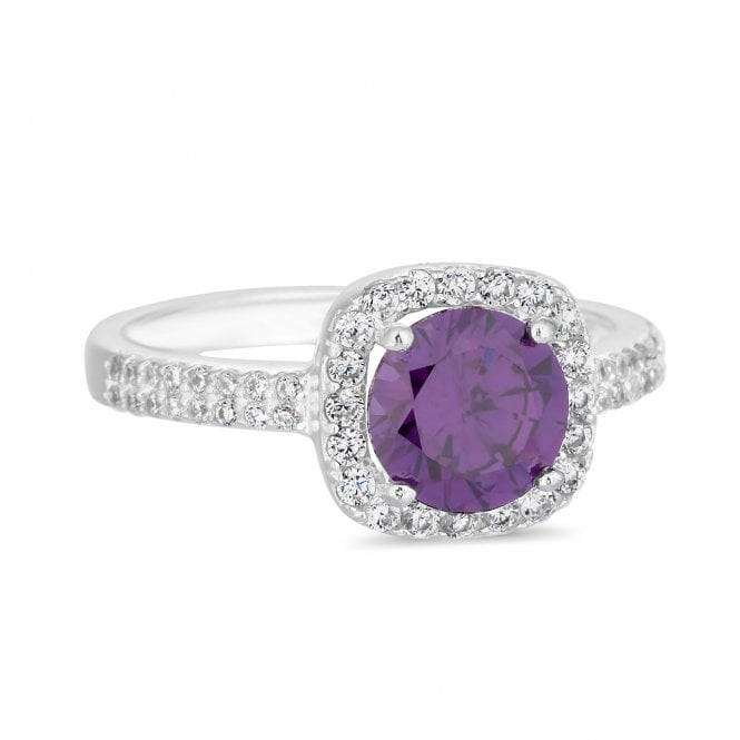 Sterling Silver Purple Cubic Zirconia Halo Ring