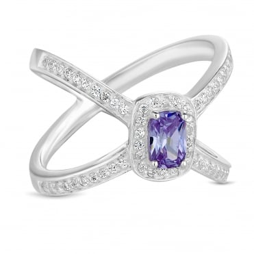 Sterling Silver Purple Open Band Ring