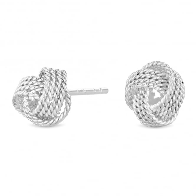 Sterling Silver Rope Knot Stud Earring