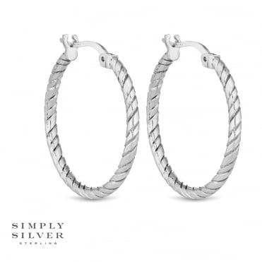 Sterling silver rope twist hoop earring