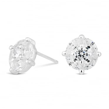 Sterling silver round cubic zirconia stud earring