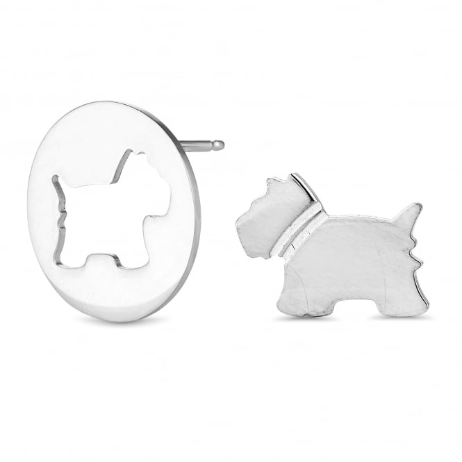 Simply Silver Sterling Silver Scottie Dog Stud Earring