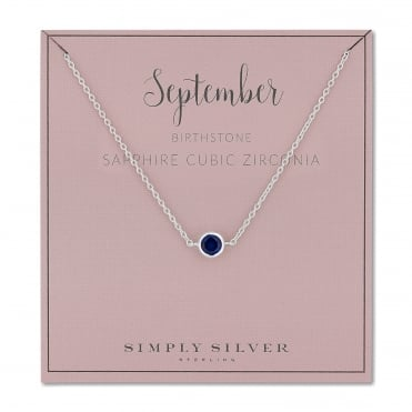 Sterling silver september sapphire cubic zirconia birthstone necklace