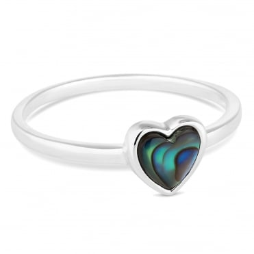 Sterling silver small abalone heart ring
