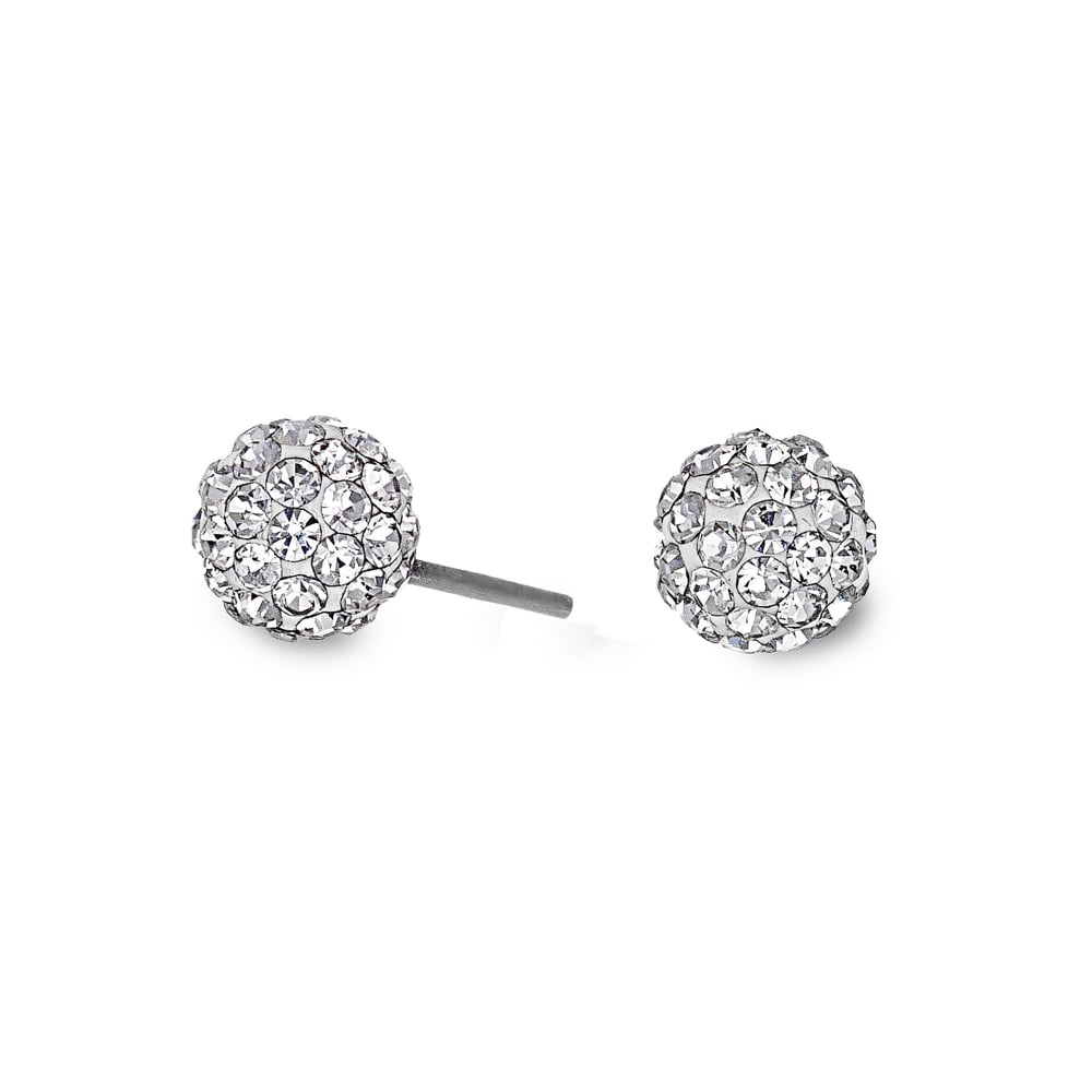 Simply Silver Sterling Small Pave Ball Stud Earring