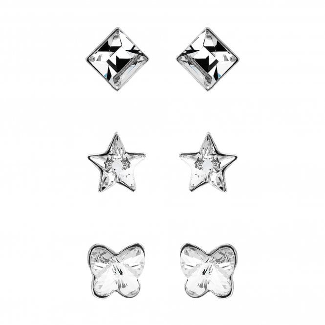 Sterling Silver Stud Earring Set Embellished With Swarovski Crystals