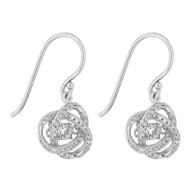 Sterling Silver Suspended Dancing Cubic Zirconia Swirl Drop Earring