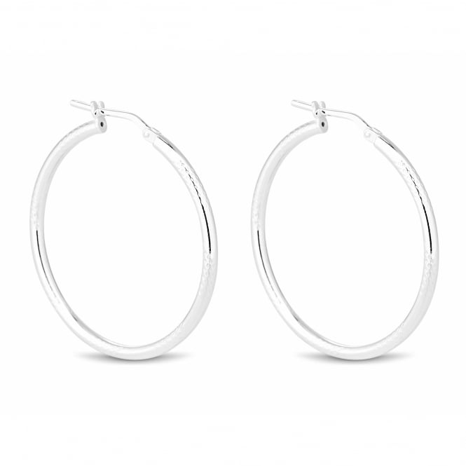 Simply Silver Sterling silver textured hoop earring
