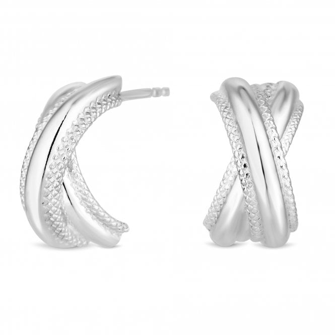 Sterling Silver Textured Kiss Stud Earring