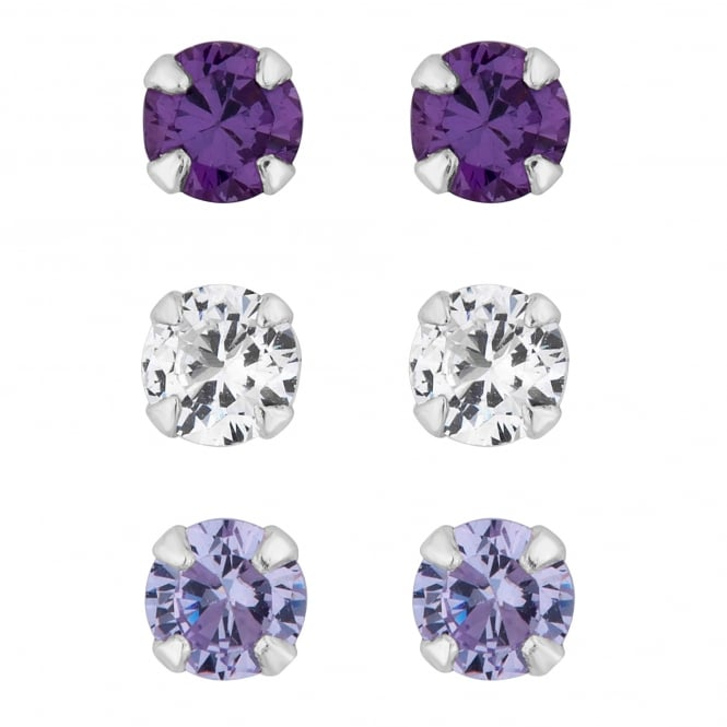 Sterling Silver Purple Cubic Zirconia Stud Earring - Pack of 3