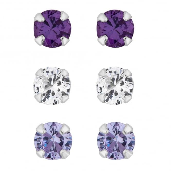 Sterling Silver Purple Cubic Zirconia Stud Earring - Pack of 3