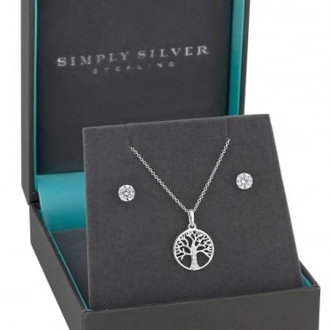 Sterling silver tree of life jewellery set