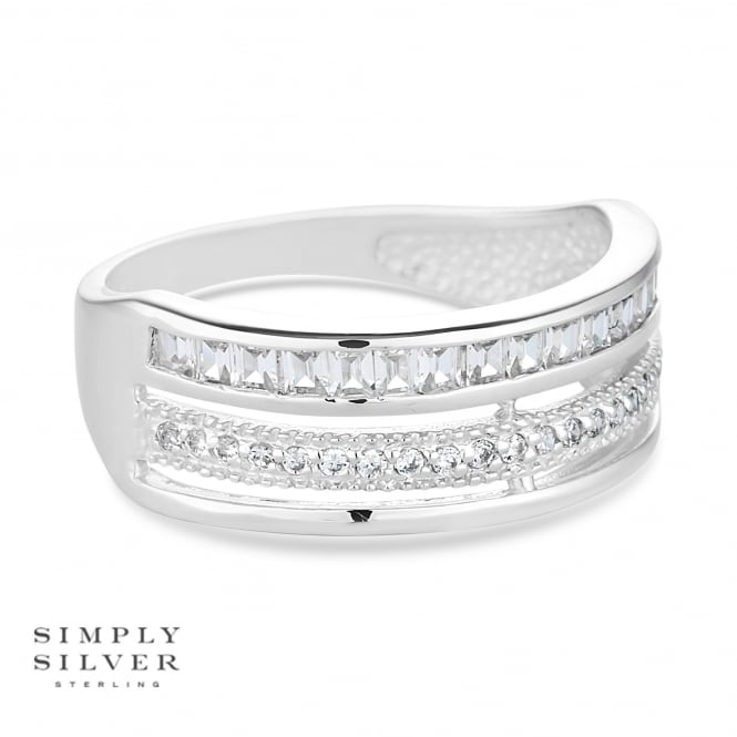 Simply Silver Sterling silver triple row pave ring
