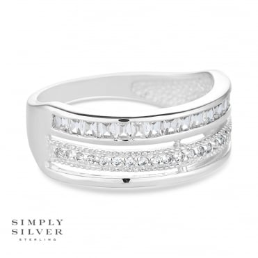 Sterling silver triple row pave ring
