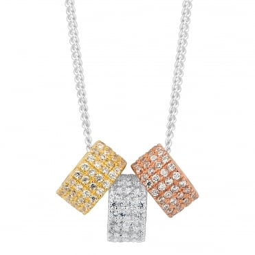 Sterling silver triple tone cubic zirconia disc necklace