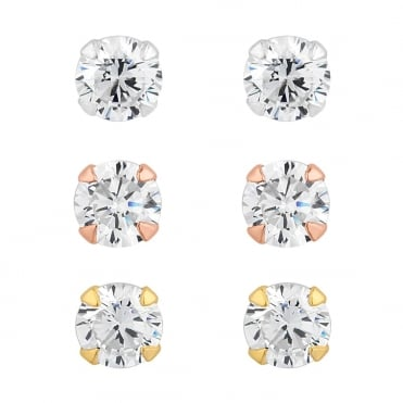 dfb2a1d3f Sterling Silver Cubic Zirconia Stud Earring - Pack of 3