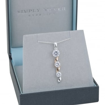 Sterling silver two tone cubic zirconia swirl pendant necklace