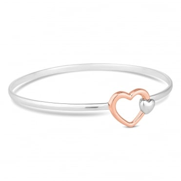 Sterling silver two tone heart catch bangle