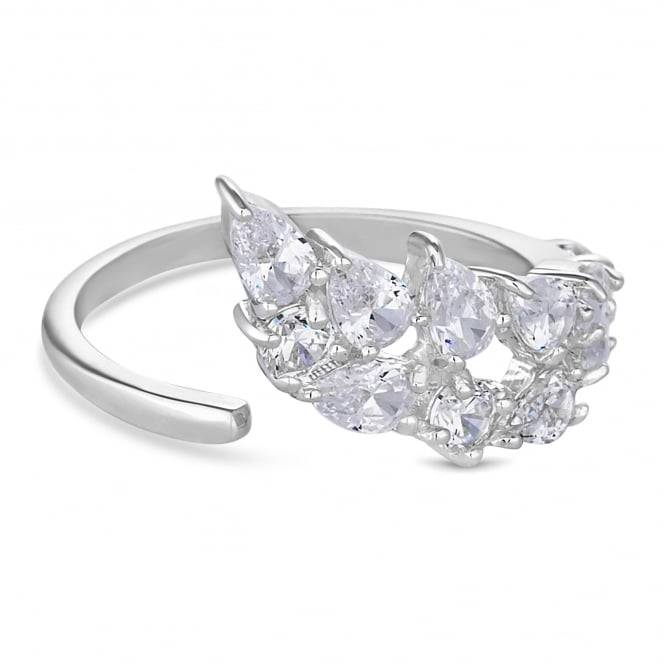 Sterling Silver Cubic Zirconia Waterfall Ring