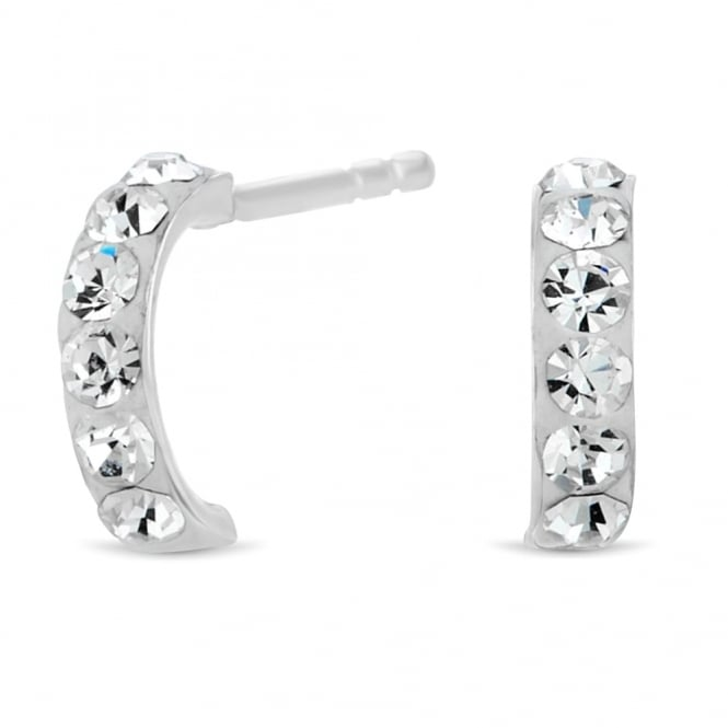 Sterling Silver Pave Mini Half Hoop Earring