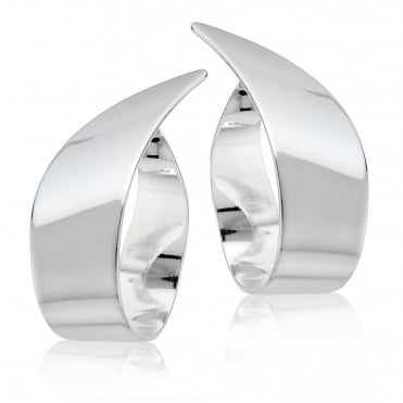 Statement silver twist hoop earring