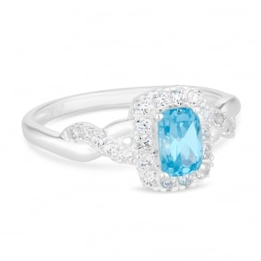 Sterling Silver Aqua Blue Cubic Zirconia Ring