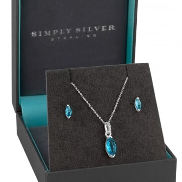 Sterling Silver Aqua Blue Jewellery Set In A Gift Box