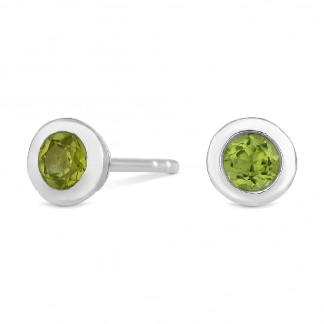 Sterling Silver Green Peridot August Birthstone Stud Earring