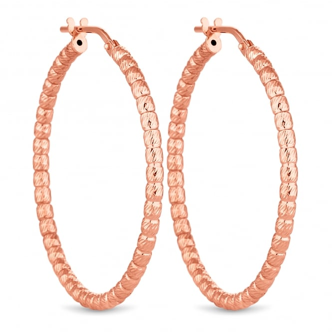 14ct Rose Gold Plated Sterling Silver Bead Hoop Earring