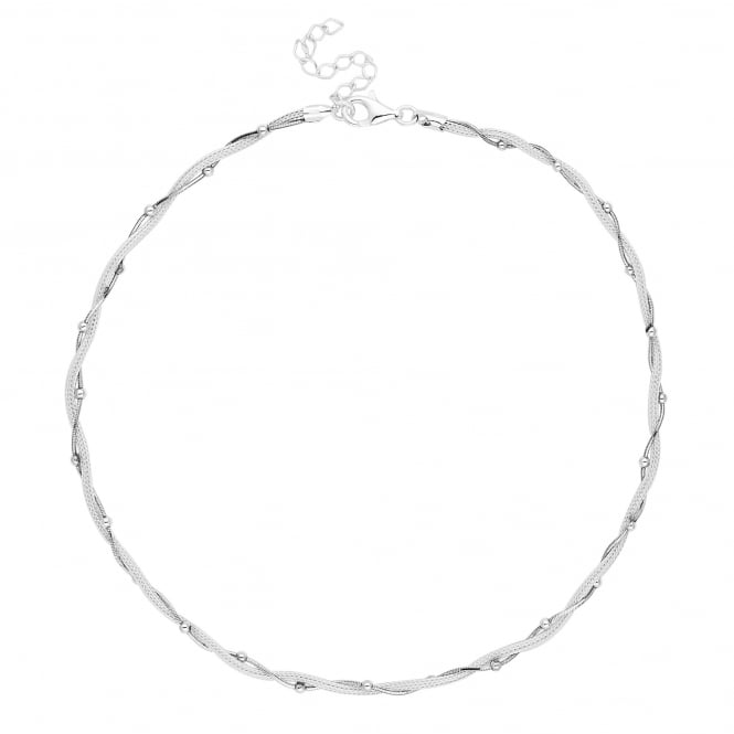 Simply Silver Sterling silver bead twist mesh necklace