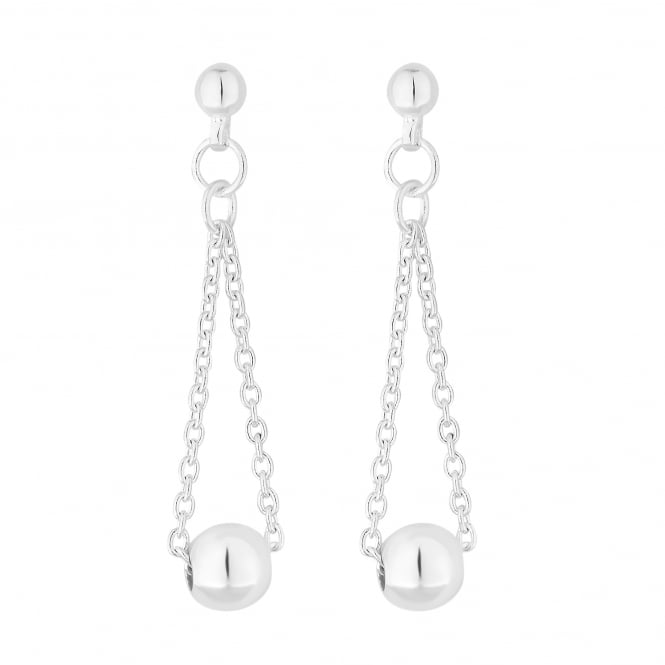 Simply Silver Sterling Silver Beaded Chain Drop Earring