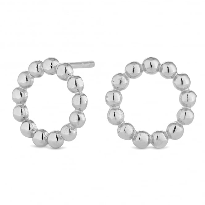 Simply Silver Sterling Silver Beaded Circle Stud Earring