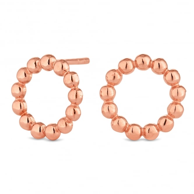 14ct Rose Gold Plated Sterling Silver Beaded Circle Stud Earring
