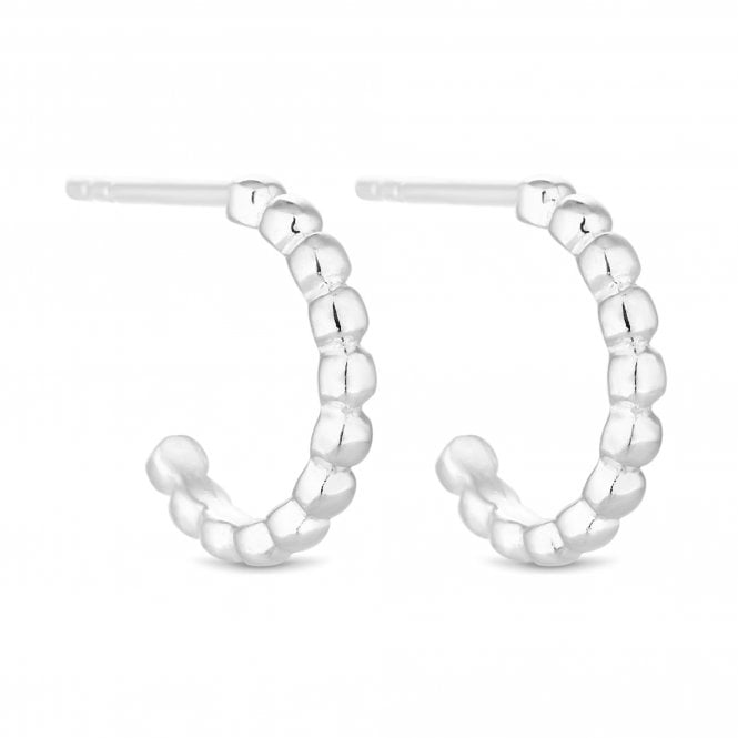 Sterling Silver Beaded Half Hoop Earring