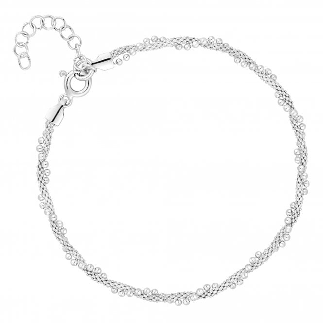 Sterling Silver Beaded Twist Bracelet