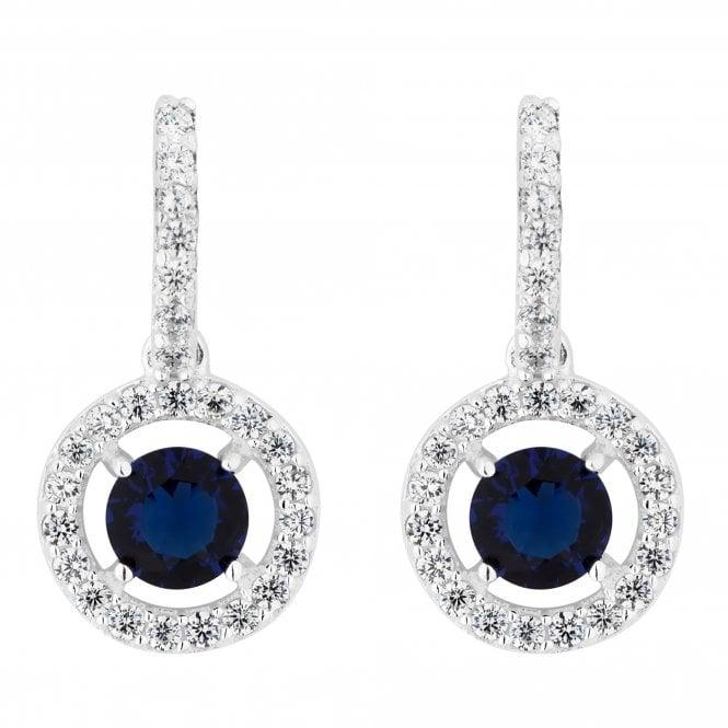 Sterling Silver Blue Cubic Zirconia Halo Drop Earring