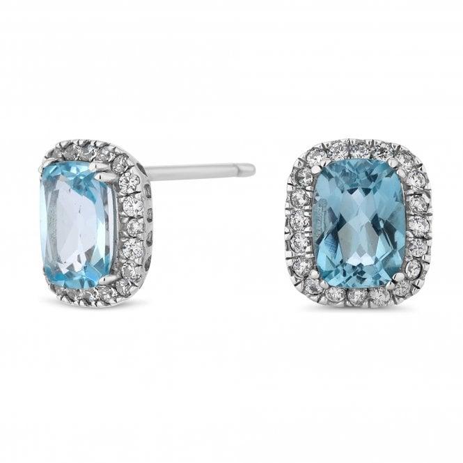 Sterling Silver Blue Cubic Zirconia Halo Stud Earring