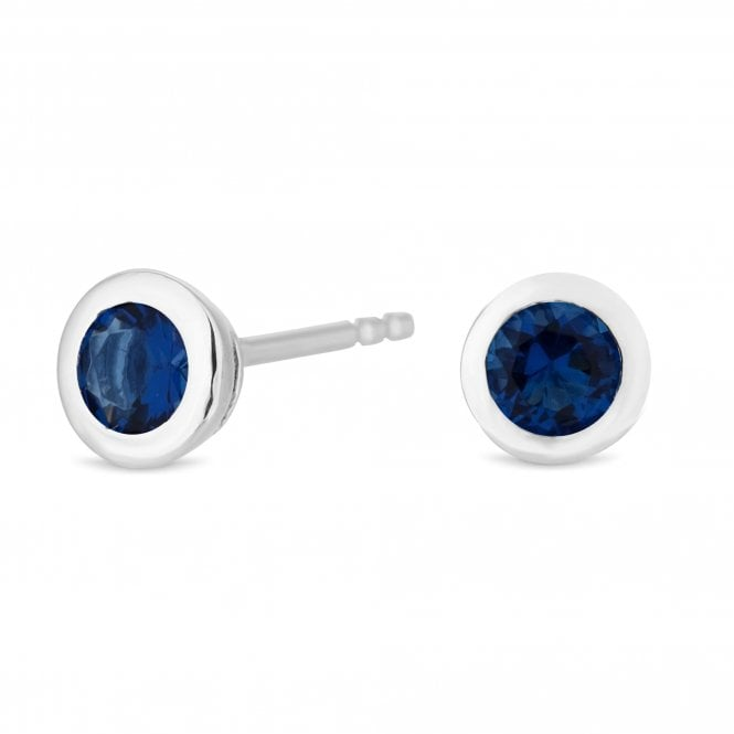 Sterling Silver Blue Cubic Zirconia September Birthstone Stud Earring