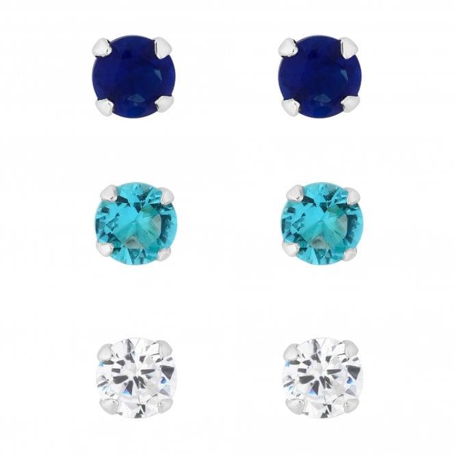 Sterling Silver Blue Cubic Zirconia Stud Earring Set